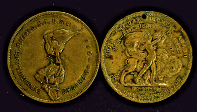 (2) 1901 Pan American Exposition Medals Peace & Bellows Fulls,v T      (4036)