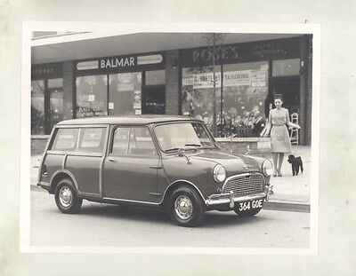 1963 ? Austin Mini Countryman & Poodle ORIGINAL Factory Photo wy4120