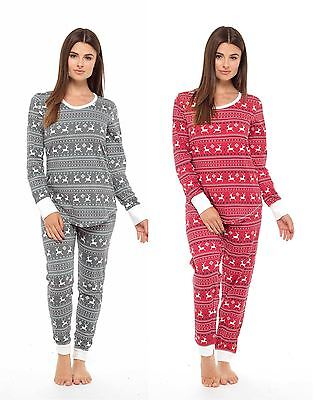 Women's Jersey Fair Isle Reindeer Pyjamas Twosie, Xmas Cotton PJ Set, Red Grey