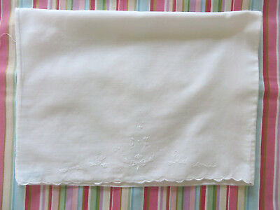 "Vintage Linen 12"" X 17"" White Baby Embroidered Pillowcase - Handmade Phillipines"