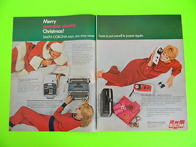 1967 Merry Portable Electric Christmas! Smith-Corona Mail Call Letters Talk Ad