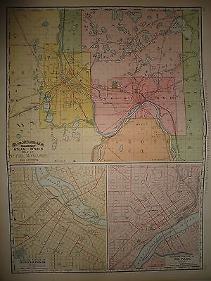 Vintage 1891 ~ ST. PAUL MINNEAPOLIS ~ Map Old Antique Original  28x21 Atlas Map
