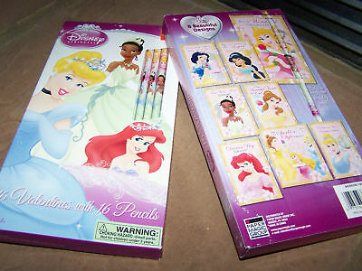 Box of 16 Disney Princess Valentine's Day Cards with Pencils New