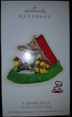 PEANUTS Snoopy A Spooky Story Ornament Woodstock Scouting Tent Hallmark 2009 NEW