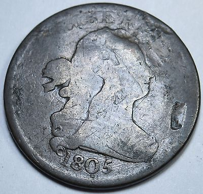 1805 US Half Cent Hay Penny Antique U.S. Currency Vintage USA Money Coin USA 1/2