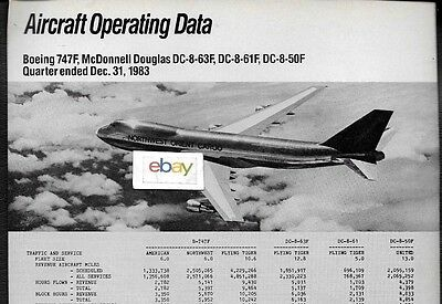Northwest Airlines 747-100F Aircraft Operating Data Comparisons Aa Nwa Ual Dc-8