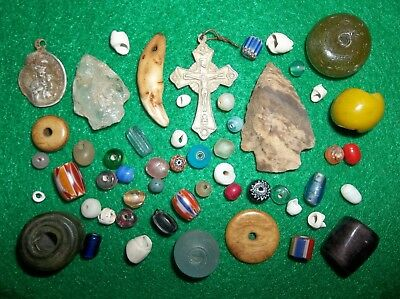 New York Iroquois Jesuit Cross Arrowhead Beads French Indian Fur Trade Relics