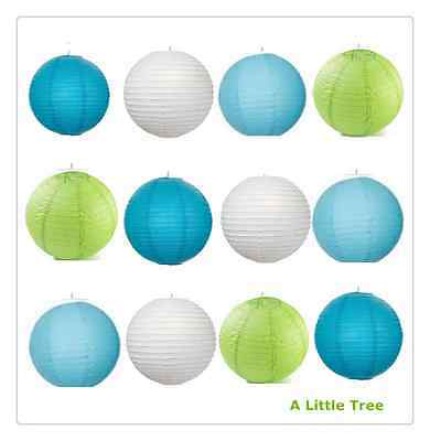 "12x14"" MIXED New Round Paper Lanterns Lamp Shade(Blue+Light Blue+Lime+White)"
