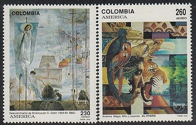 Upaep Colombia 851/52 1992 Paintings of Salvador Dalí and Alfredo Nursery MNH