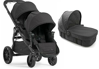 Baby Jogger City Select Lux Twin Double Stroller Granite w/ Second Seat Bassinet
