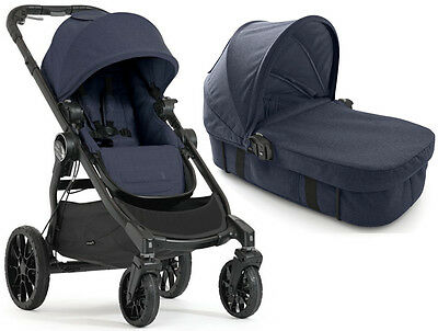 Baby Jogger City Select Lux Stroller Indigo w/ Bassinet Kit Pram System Travel
