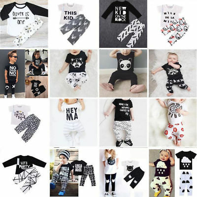 2pcs Newborn Kids Boy Girl Baby Toddler T-shirt Top + Pants Clothes Outfit Set