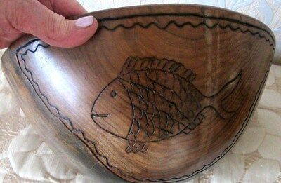 ANTIQUE South American Hand Carved By Native  Inca Hard Wood Large Salad  BOWL