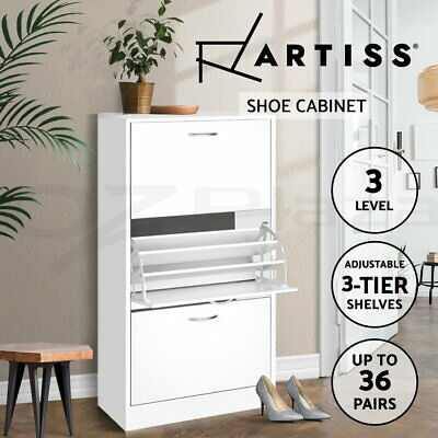 Artiss 36 Pairs Wooden Shoe Cabinet Rack Storage Organiser Shelf Drawers White