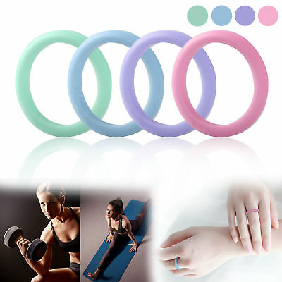 4 Pcs Thin Silicone Wedding Ring Rubber Band Women Flexible Outdoor Sport Gym