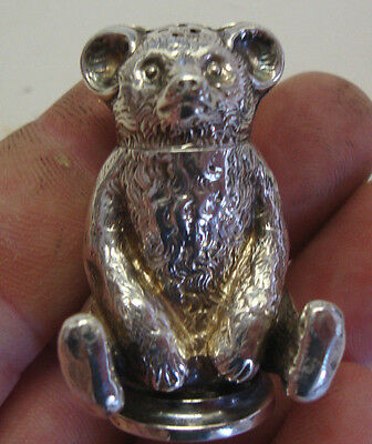 Rare Birmingham 1909 novelty silver pepper pot in the form of a teddie bear