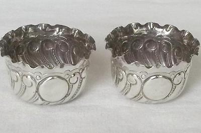 A Superb Antique Pair Of Solid Sterling Silver Victorian Open Salts Dates 1893.