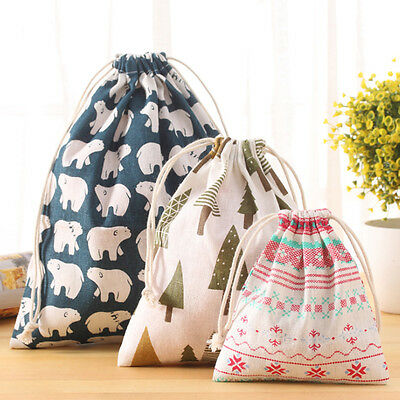 Cotton Draw string Storage Bag Toy Shoes Laundry Bags Home Travel S M L