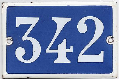 Old blue French house number 342 door gate plate plaque enamel metal sign steel
