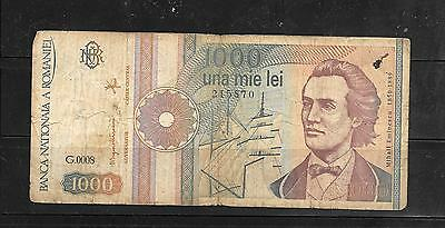 ROMANIA #101Aa 1991 VG CIRC 1000 LEI BANKNOTE PAPER MONEY CURRENCY BILL NOTE