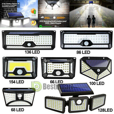 4-118LED Solar Power PIR Motion Sensor Wall Light Outdoor Garden Lamp Waterproof