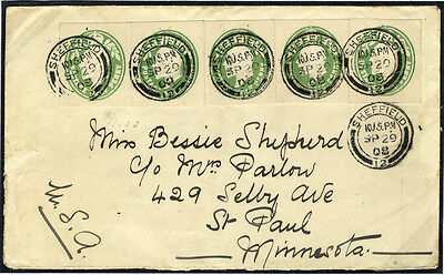 1908 envelope from Sheffield to Minnesota, franked KEVII cut outs . . .