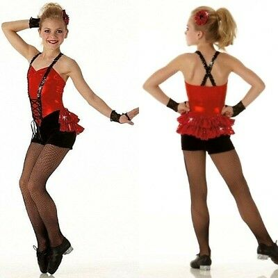 Cupid Shuffle Dance Costume Biketard with Back Skirt & Mitts Tap CXS CS 6X7 2XL