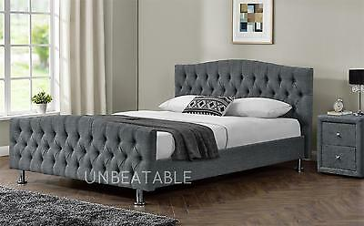 Velvet Linen Chesterfield  Fabric Bed Frame Double King Size Bedroom