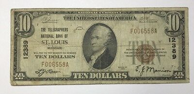 1929 $10 Type 1 Telegraphers National Bank Of St. Louis Missouri CH#12389