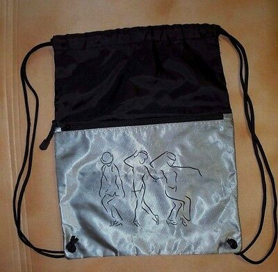 NWOT Lightweight Drawstring Backpack Black Gray Unisex Dance Bag Jazz