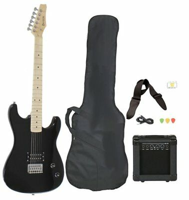 Full Size Black Electric Guitar w/Amp,Case & Accessories Beginner Starter NEW