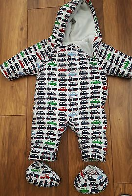 Mothercare Baby Boys Cars Snowsuit / Pramsuit 6 - 9 months