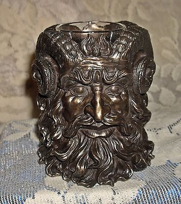 HORNED PAN Greek God of Fertility TWO FACED CANDLE HOLDER ~ Burnt Offerings ~
