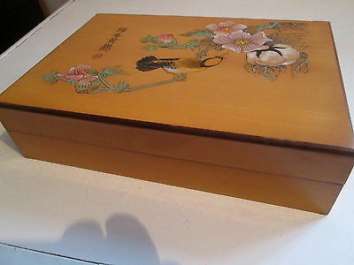 Lovely, Chinese Wooden Box, Hand Incised + Painted. Bird & Flowers. Lined, VGC