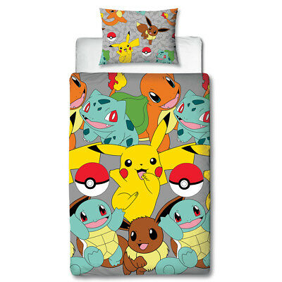 "Pokemon ""Catch"" Single Bettwäsche 135 x 200 Kinder Pikachu Bettgarnitur neu"