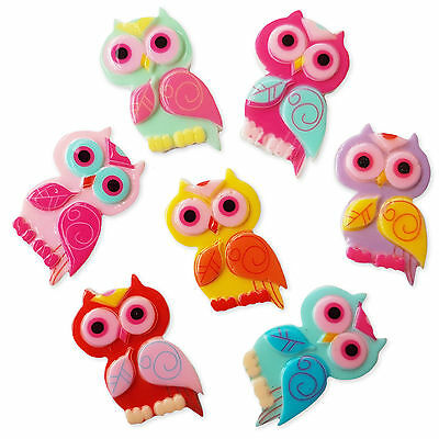5pcs Cute Owl Flatback Acrylic Cabochon Embellishments Scrapbooking Kawaii Craft