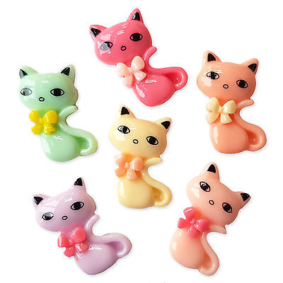 6pcs Cute Cat Flatback Acrylic Cabochon Embellishments Scrapbooking Kawaii Craft