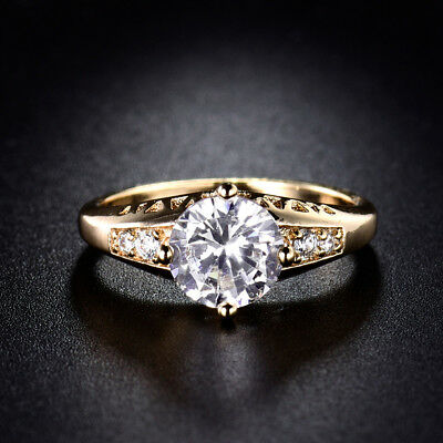 18K Yellow Gold Filled CZ Crystal Wedding Halo Promise Rings For Women Sz5-Sz9