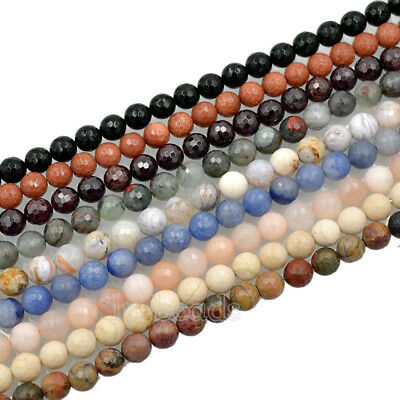 """Natural Faceted Gemstone 4mm 6mm 8mm 10mm Round Spacer Beads 15"""" Lot  Wholesale"""