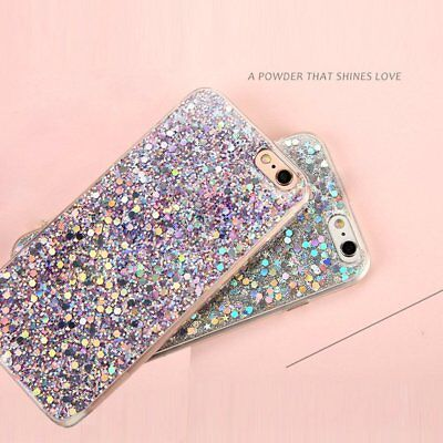 Bling Glitter Sparkle Rubber Soft TPU Silicone Case Cover For iPhone X 6s 8 Plus