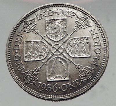1936 Great Britain UK United Kingdom Big SILVER FLORIN Coin King George V i63515