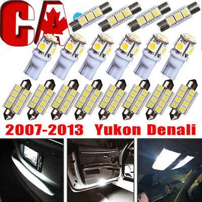 18X Xenon White LED Light Interior Package Kit 2007-2013 For GMC Yukon Denali