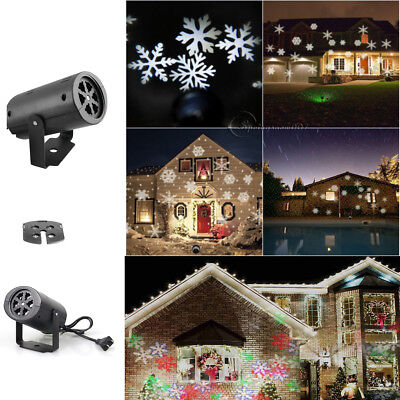 RGB LED Moving Snowflake Garden Laser Projector Lamp Light Xmas Outdoor Decor DY