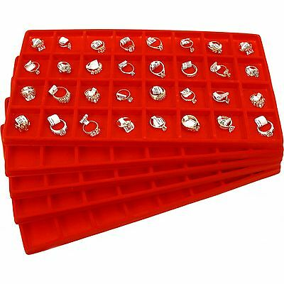 5 Red Jewelry Coin Display Travel Tray Inserts 32 Slot