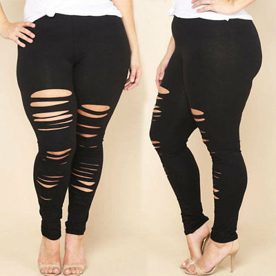Women Plus Size Pencil Stretch Casual Skinny Jeans Pants Hole Jeans Trousers New