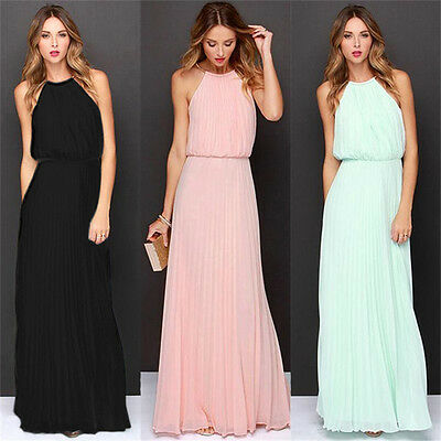 Women Chiffon Solid Long Maxi Dress Prom Bridesmaid Wedding Formal Evening Party