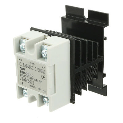 SSR-25DD 25A DC3-32V to DC5-60V Solid State Relay + Heat Sink + Thermal Compound
