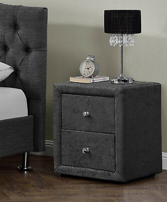 2 Drawers Velvet Linen Fabric Bedside Table Nightstand Bedroom Night Table