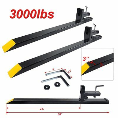 "60"" Clamp on Pallet Forks 3000lbs Capacity Loader Bucket Skidsteer Tractor Chain"