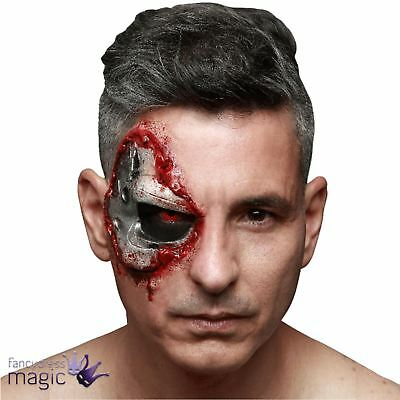 Terminator Genisys Android Cyborg Robot Costume Latex Eye Mask Prosthetic Wound